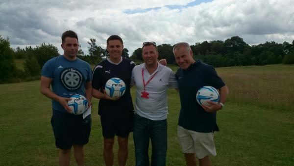 Footgolf first timers - Chris Phillips, Steve Tilson and Peter Taylor with Mike O'Connor of Footgolf UK