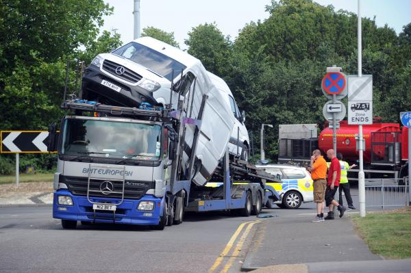 Lorry nearly loses its load