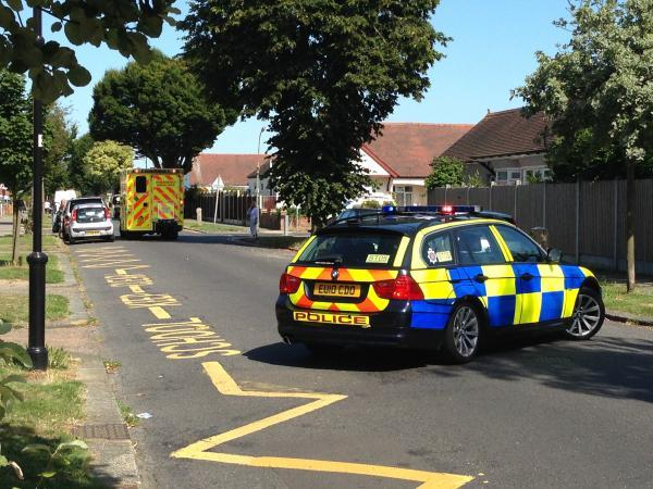 Accident scene – police and ambulance arrive outside the school in Poynings Avenue, Southend