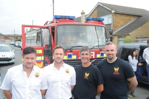 Work friends commandeered their fire engine for the day to help people on Canvey. Five friends from Canvey, who work as retained firefighters at Canary Wharf, spent yesterday pumping