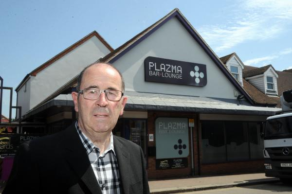 On the market – councillor David Harrison outside Bar Plazma