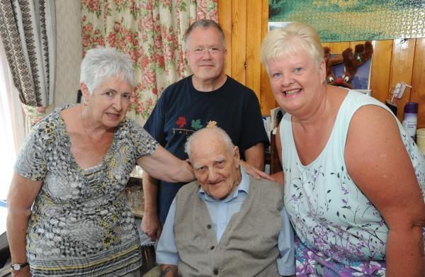 Good neighbours – Yvonne Hawkins, Paul and Val Bancroft, with Bill Monk