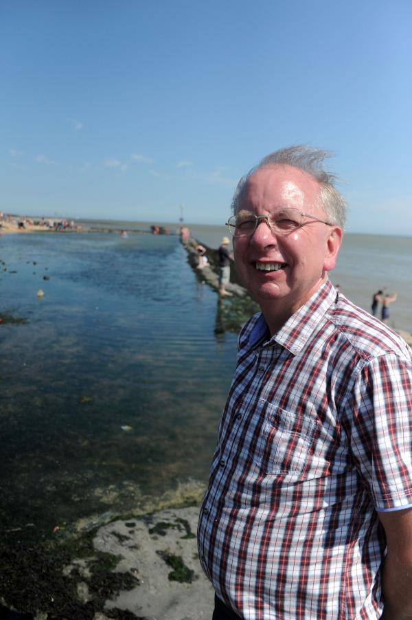 Councillor Tom Skipp by the pool on Canvey