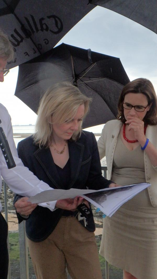 Environment Secretary Elizabeth Truss discussing the problems with Rebecca Harris MP