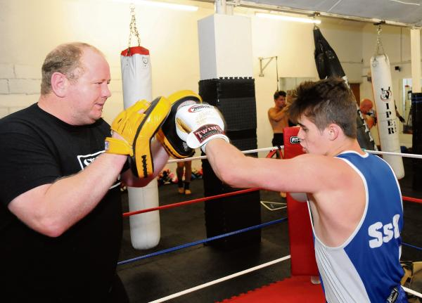 Georgie Smith and Mike Hales do some sparring