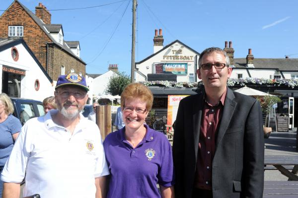 Determined to succeed – Tony Prior, left, chairman of Leigh Lions Club activities committee, Kay Large, Leigh Lions Club president and Nick Turner, area manager of the East Anglia Pub Company outside the Peter Boat pub, in Old Leigh High Street