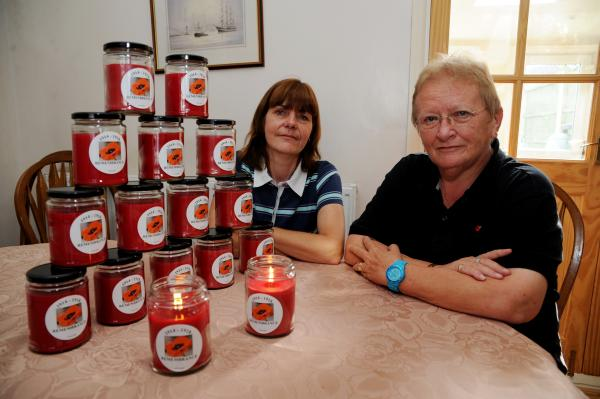Remembrance candles – Christine Schooley and Angela Glynn