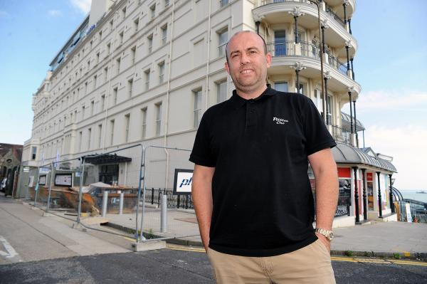 Paul Thompson, chairman of Southend Seafront Traders' Association, in front of the Park Inn Palace Hotel