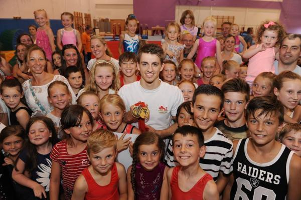 Our hero - Max Whitlock with young gymnasts from the South Essex Gymnastics Club