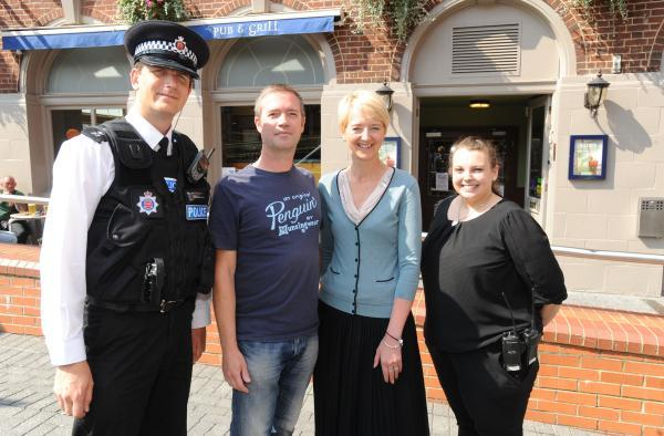 Teamwork – Chief Insp Simon Anslow with Gary Stokes of Mayhem nightclub, Business Improvement District chairman Dawn Jeakings and Jenna Fryer from O'Neills Irish pub