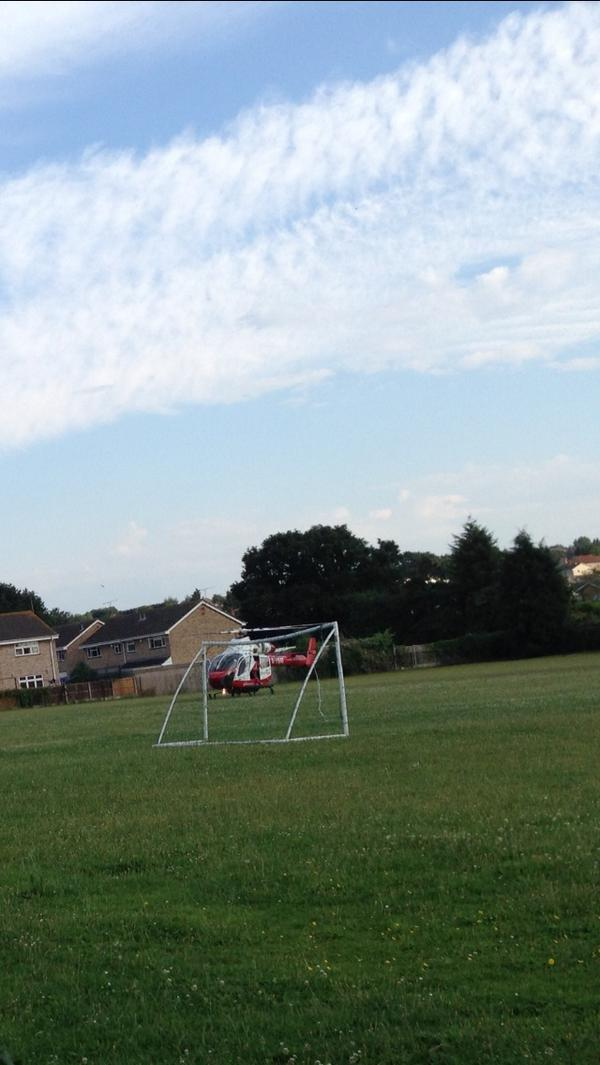 Air ambulance landing at Down Hall School in Rayleigh. Picture by Natalie Tucker
