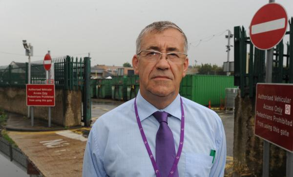 Councillor Martin Terry outside the council's household waste recycling centre in Stock Road, Southend