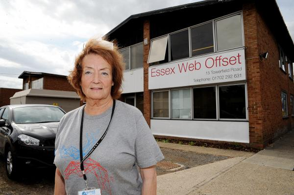 Councillor Anne Chalk outside Essex Web Offset