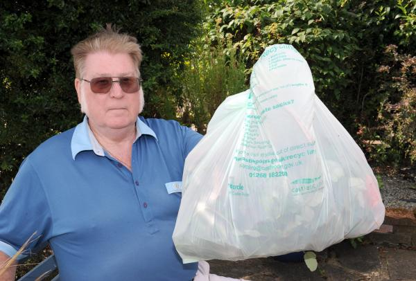 What a load of rubbish – George Whatley with the a council green waste bag