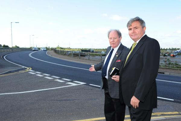 Repaired – Ray Howard and director of Highways Paul Bird outside Benfleet station