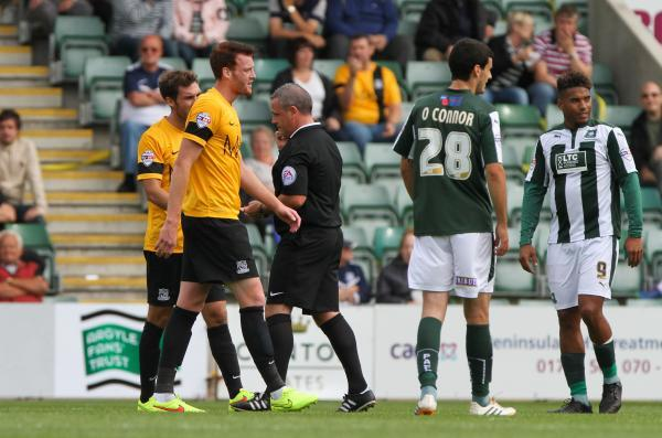 Cian Bolger - sent off after just 15 minutes at Home Park
