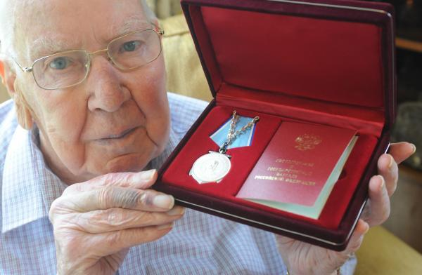 Honoured - Donald Browne with the Russian Ushakov medal, which he adds to the Arctic Star and Maltese Cross