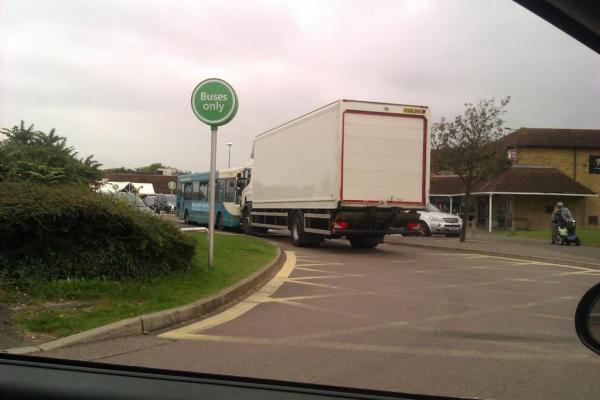 Bonnet to bonnet – the Asda lorry and Arriva bus in the bus lane