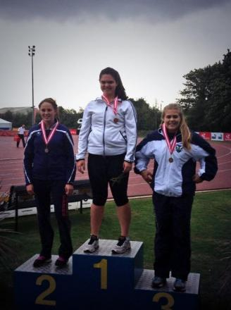 Hammer champion Katie Head on top of the podium at the England Championships