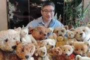 Teddy bear fan - Jena Pang with some of his bears