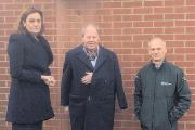 Rebecca Harris with councillor Ray Howard and Environment Agency eastern area manager, Dr Charles Beardall