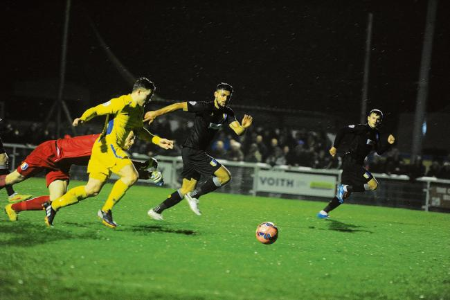 Lewis Taafe goes so close to giving Concord the lead against Mansfield. PIC: PAUL WATSON