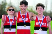 Mayflower School's pupils earned a one-two-three in the Year 8 and 9 boys race (l-r) Leon Wheeler (second), Oliver Lill (winner) and Cameron Armstrong (third)