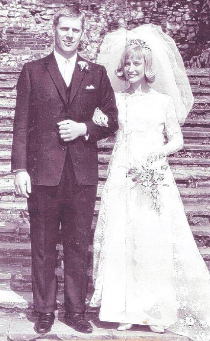 Happy day – Sylvia and Peter Kent on their wedding day in 1966, at Barking Abbey ruins