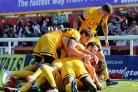 Southend United celebrate Michael Timlin's late winner