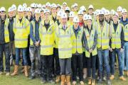Site meeting – building trainees at the Crest Nicholson apprentice day led by chief executive Stephen Stone, centre, who wants the new generation to be skilled up