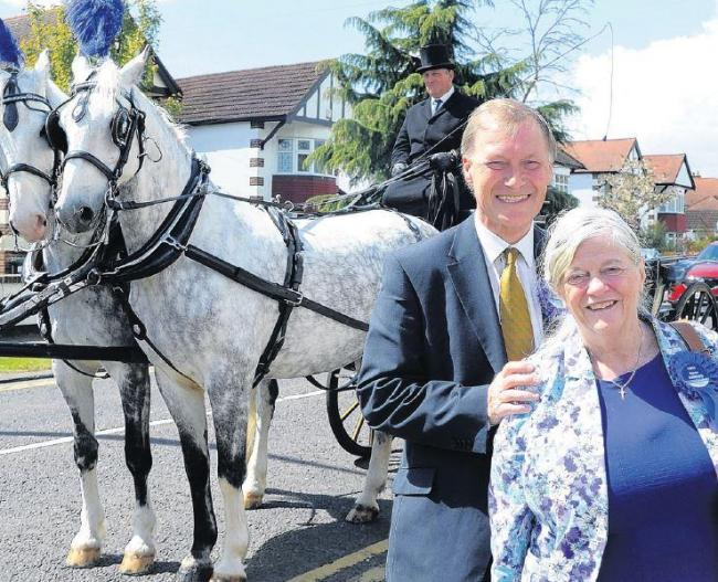 Anne and Sir David campaign in horse and carriage