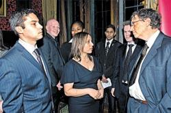 Rght to left, Bill Gates, the Prince's Trust's Martina Milburn and Duane Jackson, who now lives in Pitsea