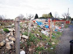 Echo:  Eyesore  the rubbish left uncleared at Hovefields travellers site