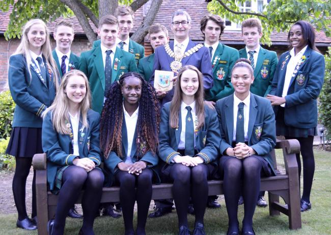 Ready to take on the world – Southend High School for Girls and Southend High School for Boys' teams with the Southend mayor Andrew Moring before flying to China for the World Schools Athletics Championships