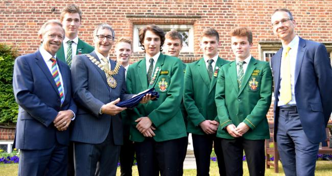 Pride – the Southend High School for Boys team with Southend's mayor Andrew Moring and Paul Richards, the school's chair of governors, and Robin Bevan, headteacher