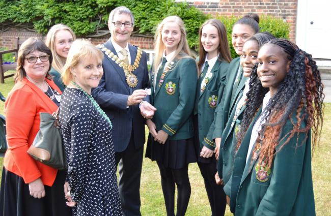 Excited – Southend High School for Girls' team with mayor Andrew Moring, chair of governers Francesca Edwards and headteacher Fiona Brierley