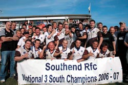 Top team - Southend RFC celebrate being crowned champions and winning promotion to National League Two for the first time ever