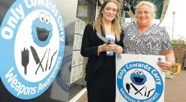 Campaigners – Caroline Shearer, right, and Natasha Potter, of the charity Only Cowards Carry