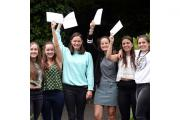 Twins Martha and Clara Finn, centre, Lydia and Eleanor Tsoukkas, right, and Phoebe and Rosanna Codrington celebrate their GCSE results at Putney High School in west London