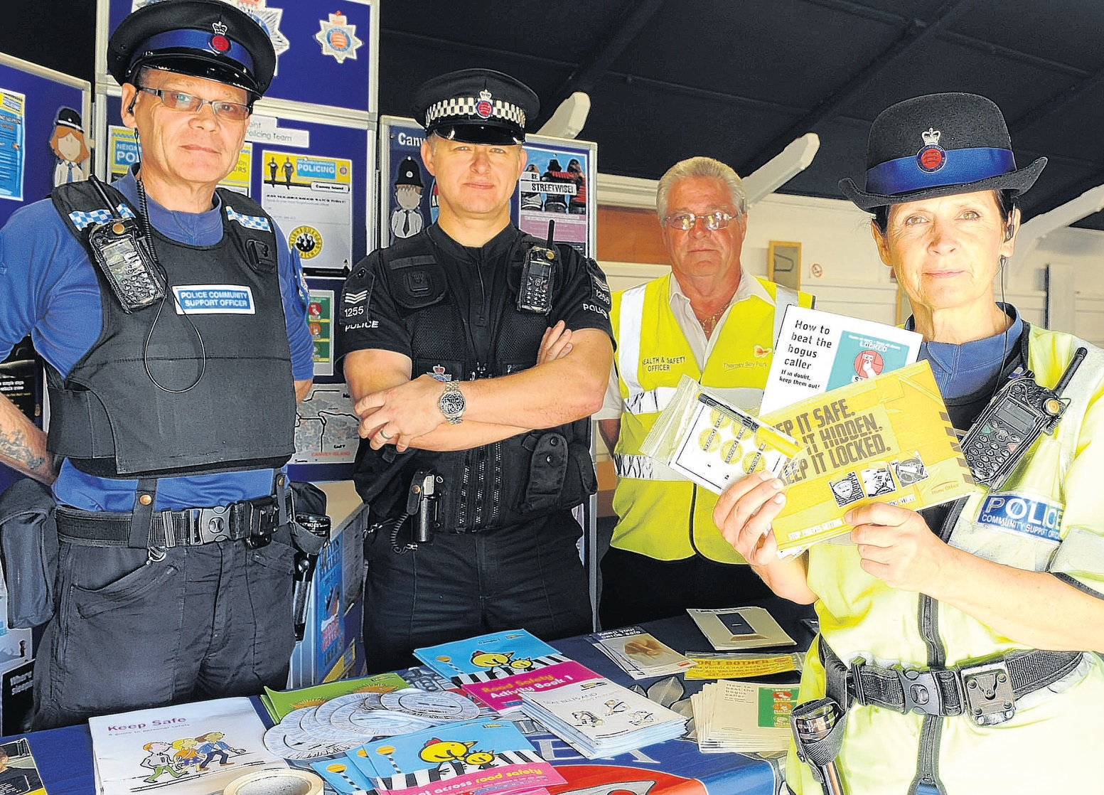 Here to help – PCSO Steve Hollands, Sgt Mark McQuade, the park's John O'Dell and PCSO Janis Nelson at the pop-up police station