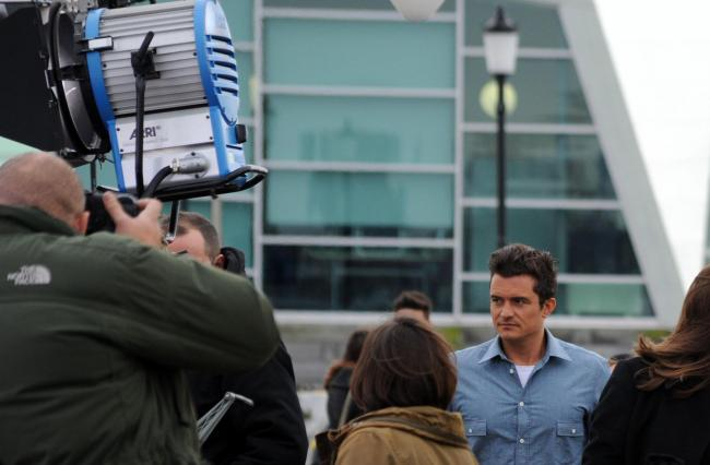 Orlando Bloom - spotted on Southend Pier while filming with Jamie Oliver