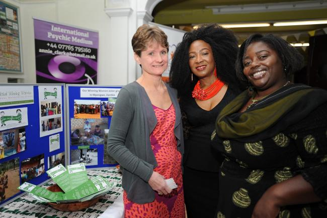 Sharing ideas – Rosemary Cunningham with Joy Phido and Hilda Mulenga at the Women in