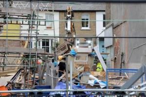 VIDEO: Clean-up operation under way at Leigh's Bell Hotel site after demolition experts raze it to the ground