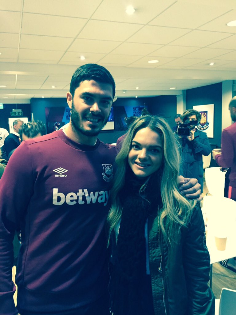 X Factor's Louisa Johnson with James Tomkins from her favourite team, West Ham