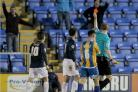 Sent off - Blues midfielder Michael Timlin is shown a red card by referee Christopher Sarginson