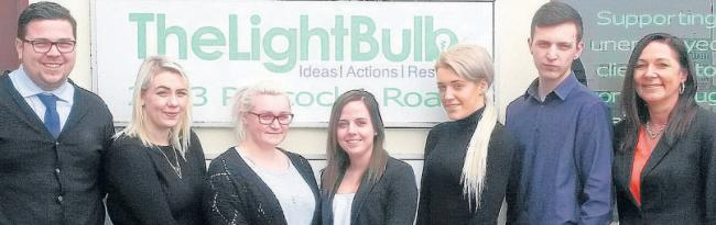 TheLightBulb apprentices – Simon Pitts, Murron Hay, Chloe Phillips, Sophie Vann and Hannah Jarman, David Payne and sales and apprenticeship manager Andrea Gregory