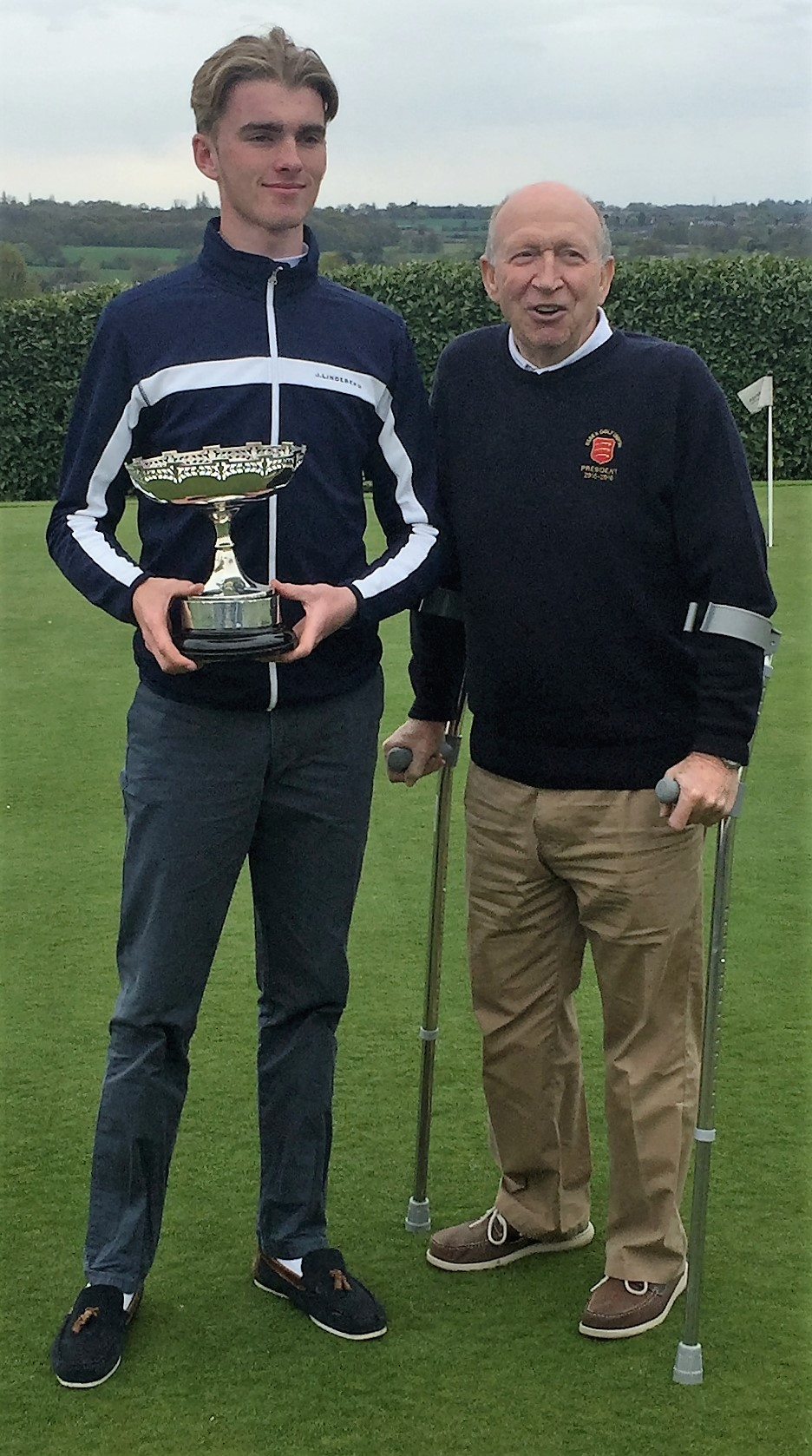 Jack Dyer (Rochford Hundred Golf Club) Mike Hart -President (Essex Golf Union) April 2016