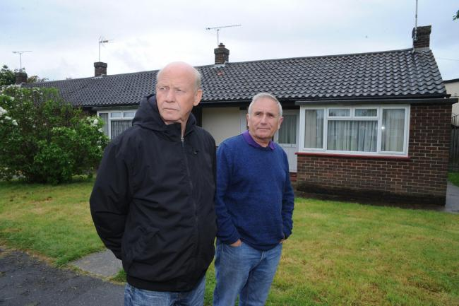 Concerned- Neville Watson and Dave Blackwell are worried about bungalows in Linden Way, Canvey, with no carbon monoxide detectors