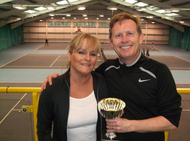Winners - Steve and Dawn Higgins clinched the mixed senior doubles and mixed over-35 doubles titles