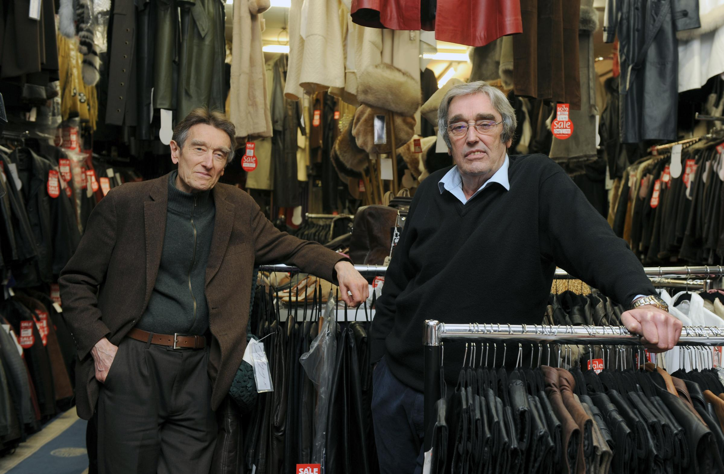 L-R James and Jack Higgs-Wilson at their shop Higgs leathers in the Victoria shopping centre..it is closing down.